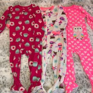 🎀 Carters 18 Month 3 Zip Up Fleece Sleepers 🎀